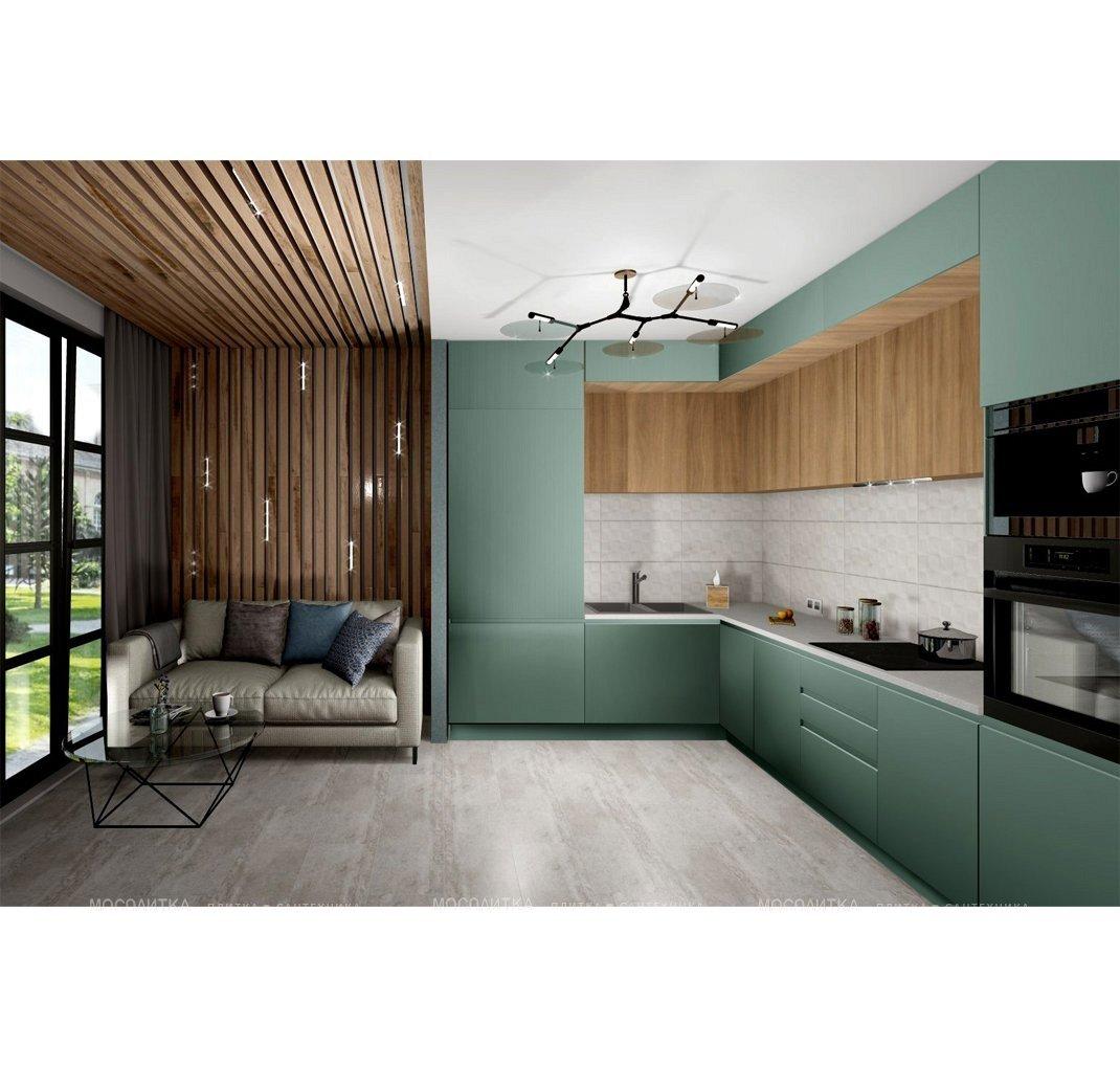 Дизайн кухни в современном стиле в зеленом цвете №12620