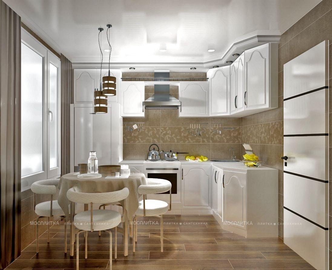 Дизайн кухни в современном стиле в коричневом цвете №11956